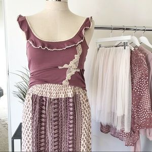 Moth by Anthropologie. Plum ruffle tank top.
